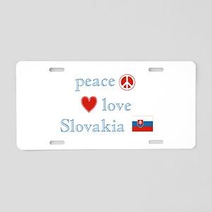 Peace Love and Slovakia Aluminum License Plate