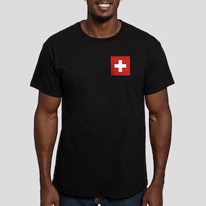 Flag of Switzerland Men's Fitted T-Shirt (dark)
