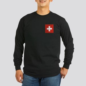 Flag of Switzerland Long Sleeve Dark T-Shirt