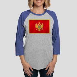 Flag of Montenegro Womens Baseball Tee