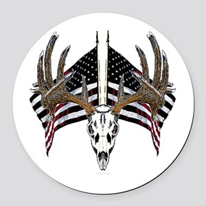 Whitetail, USA flag Round Car Magnet