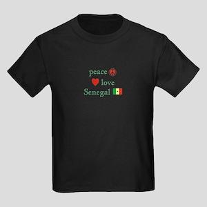 Peace Love and Senegal Kids Dark T-Shirt
