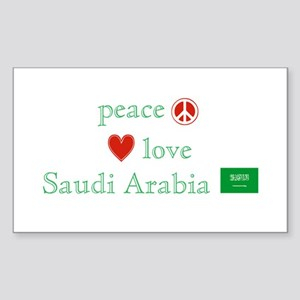 Peace Love & Saudi Arabia Sticker (Rectangle)