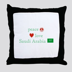 Peace Love & Saudi Arabia Throw Pillow