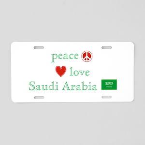 Peace Love & Saudi Arabia Aluminum License Plate