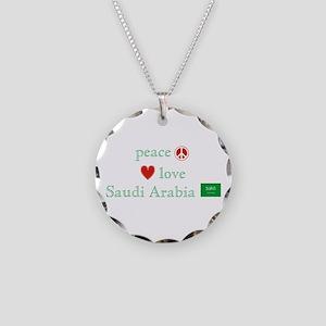 Peace Love & Saudi Arabia Necklace Circle Charm