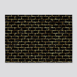BRICK1 BLACK MARBLE & GOLD FOIL 5'x7'Area Rug