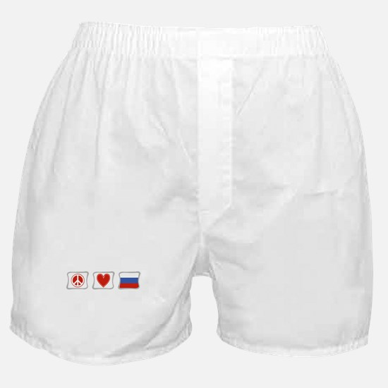 Peace Love and Russia Boxer Shorts