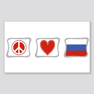 Peace Love and Russia Sticker (Rectangle)
