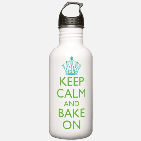 Keep Calm Bake On Blue Green Water Bottle
