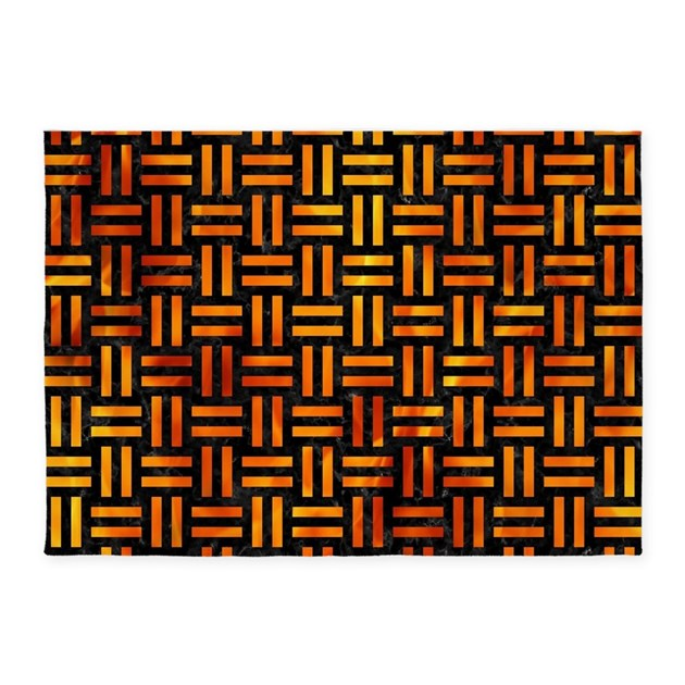 Marble Fireplace Rug: WOVEN1 BLACK MARBLE & FIRE 5'x7'Area Rug By TrendiPatterns3