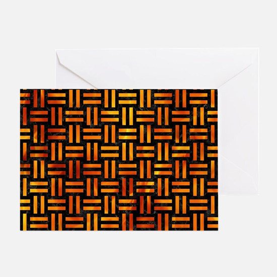 WOVEN1 BLACK MARBLE & FIRE Greeting Card