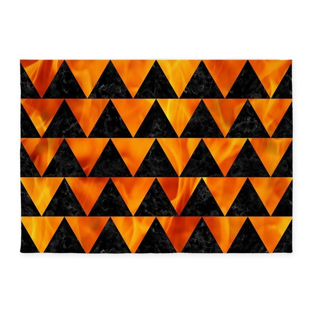 Marble Fireplace Rug: TRIANGLE2 BLACK MARBLE & FIRE 5'x7'Area Rug By TrendiPatterns3