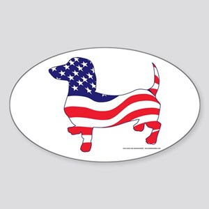 Patriotic Wiener Dachshund Sticker (Oval)
