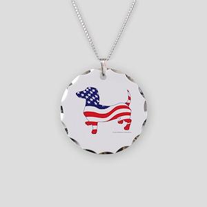 Patriotic Wiener Dachshund Necklace Circle Charm