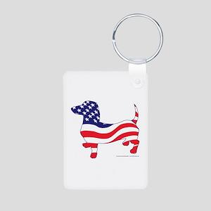 Patriotic Wiener Dachshund Aluminum Photo Keychain