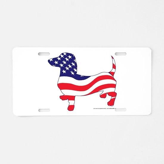 Patriotic Wiener Dachshund Aluminum License Plate