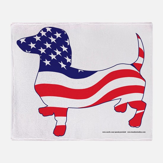 Patriotic Wiener Dachshund Throw Blanket