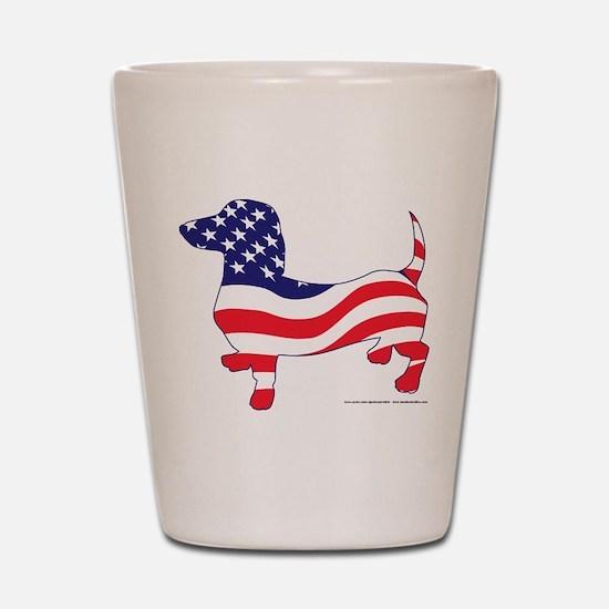 Patriotic Wiener Dachshund Shot Glass