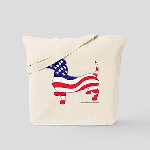 Patriotic Wiener Dachshund Tote Bag
