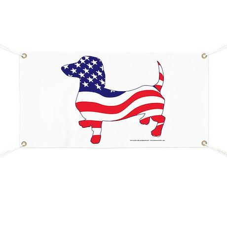 Patriotic Wiener Dachshund Banner