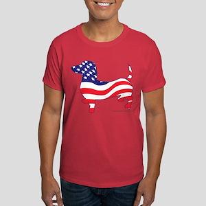 Patriotic Wiener Dachshund Dark T-Shirt