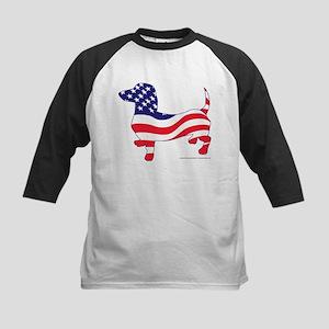 Patriotic Wiener Dachshund Kids Baseball Jersey