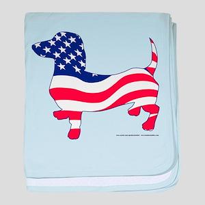 Patriotic Wiener Dachshund baby blanket