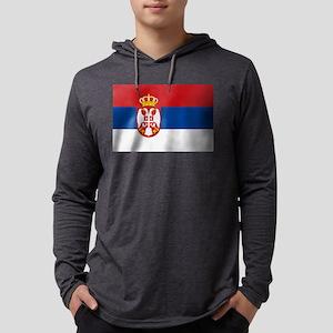 Flag of Serbia Mens Hooded Shirt