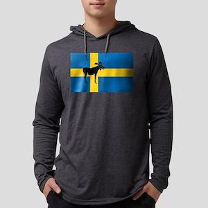 Sweden Elk / Moose Flag Mens Hooded Shirt