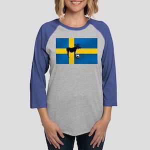 Swedish Soccer Elk Flag Womens Baseball Tee