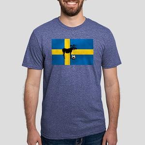 Swedish Soccer Elk Flag Mens Tri-blend T-Shirt
