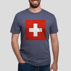 Flag of Switzerland Mens Tri-blend T-Shirt