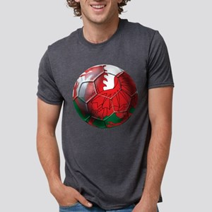 Welsh Dragon Football Mens Tri-blend T-Shirt