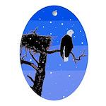 Winter Bald Eagle Oval Ornament