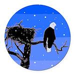 Winter Bald Eagle Round Car Magnet