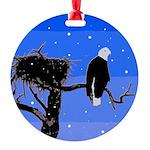 Winter Bald Eagle Round Ornament