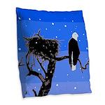 Winter Bald Eagle Burlap Throw Pillow