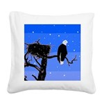 Winter Bald Eagle Square Canvas Pillow