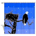 Winter Bald Eagle Shower Curtain