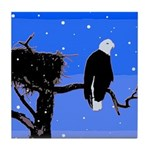 Winter Bald Eagle Tile Coaster