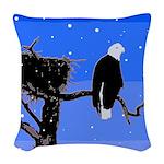 Winter Bald Eagle Woven Throw Pillow