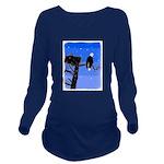 Winter Bald Eagle Long Sleeve Maternity T-Shirt
