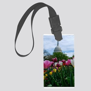 Capitol Dome over Tulips Large Luggage Tag