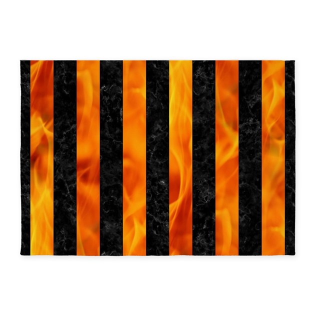 Marble Fireplace Rug: STRIPES1 BLACK MARBLE & FIRE 5'x7'Area Rug By TrendiPatterns3