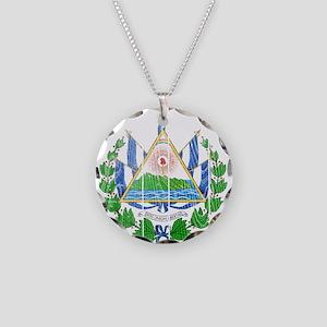 El Salvador Coat Of Arms Necklace Circle Charm