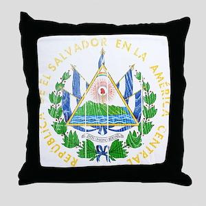 El Salvador Coat Of Arms Throw Pillow