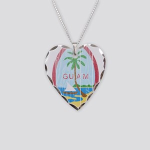 Guam Coat Of Arms Necklace Heart Charm