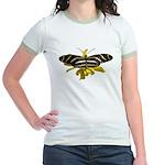 BLack & White Butterfly Jr. Ringer T-Shirt