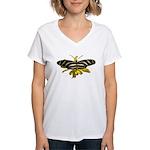 BLack & White Butterfly Women's V-Neck T-Shirt